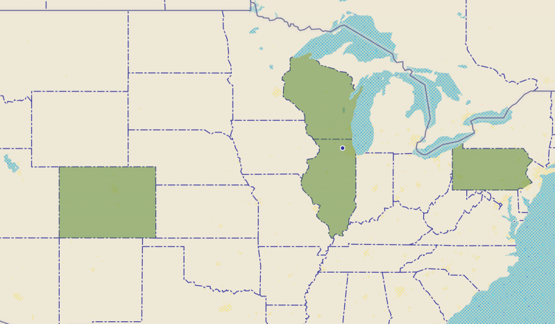 Map with Illinois, Wisconsin, Colorado and Philadelphia states highlighted